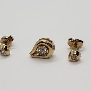 14K Gold Tear Drop Pendant & Earrings